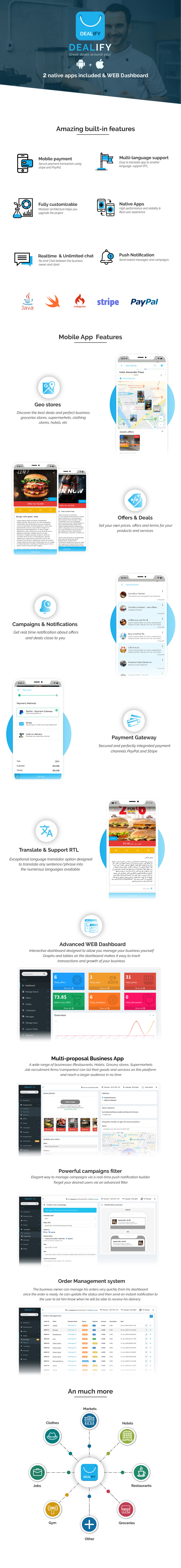 Dealify - Stores, Offers, Deals & Advanced Order System - Native Apps iOS & Android - 1