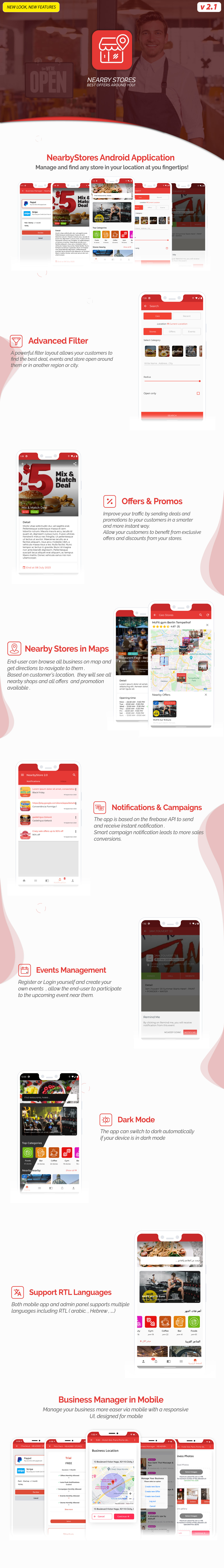 NearbyStores Android - Offers, Events, Multi-Purpose, Restaurant, Market - Subscription & WEB Panel - 2